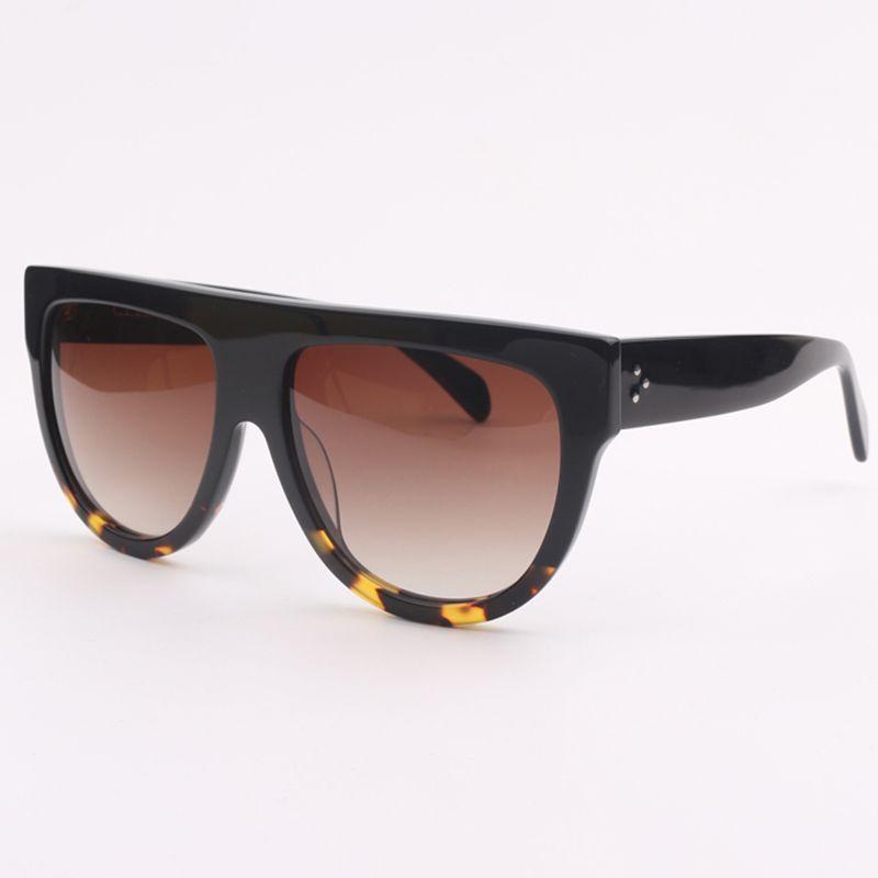 Мужские солнцезащитные очки Модные солнцезащитные очки с плоским леопардовым принтом и солнцезащитными очками с коричневым градиентом 41026