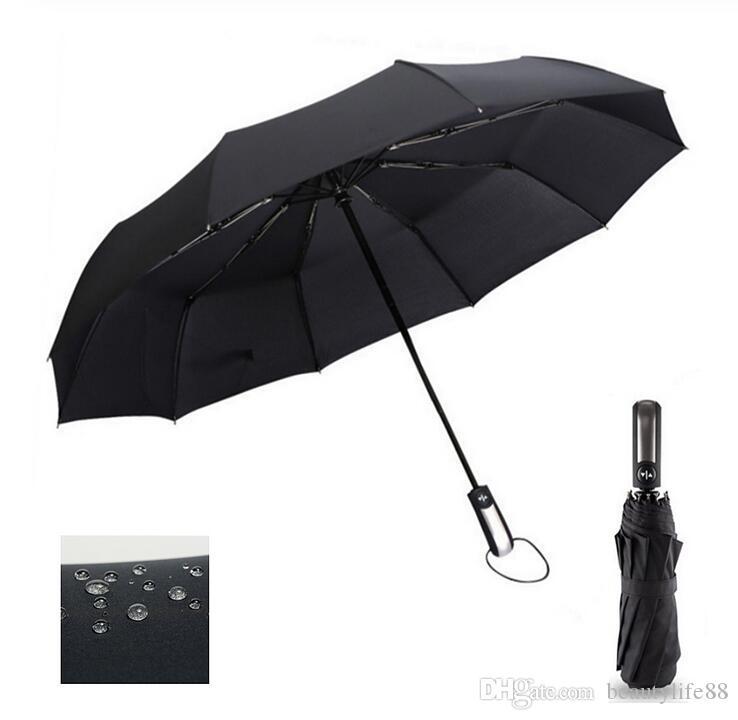 مقاومة الرياح للطي التلقائي مظلة المطر النساء السيارات الفاخرة كبيرة مظلات المطر يندبروف للرجال طلاء أسود 10 كيلو البارسول