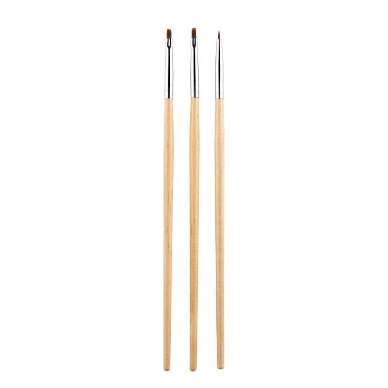 3PCS/Set Nail Art Brush Design Painting Drawing Flower Builder Flat Angle Lines Tips Wooden Polish Manicure Tools Pen Acrylic UV