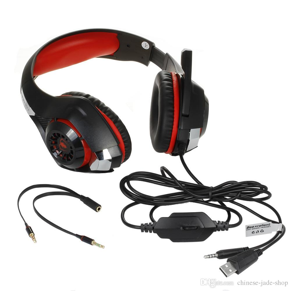Beexcellent GM-1 Gaming Headset for PS4 XboX ONE Stereo Gaming Headphones Noise Isolation LED Light Bass Surround Mic USB 22pcs/lot