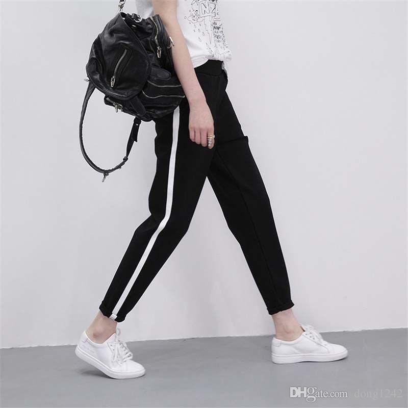 Pantaloni donna Harem a righe laterali alla caviglia Pantaloni lunghi in vita elastica nera