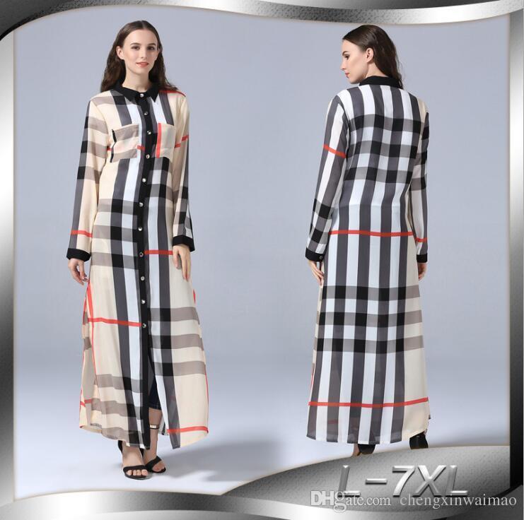 Artı Boyutu L-5XL Sundress Retro Kadınlar Ekose Elbise 2019 Yaz Yaka Uzun Kollu Casual Düğmeler Bölünmüş ayak bileği-uzunluk Gömlek Vestidos