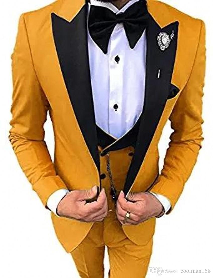 Mode jaune smokings marié Black Peak Lapel Groomsmen Hommes Robe de mariée excellente homme Blazer 3piece Costume (veste + pantalon + veste + Tie) 182