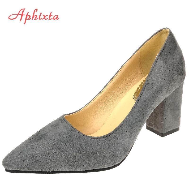 Aphixta Shoes Square Heel Women Bombas de punta estrecha Fashion Grey High Square Heels Flock Leather Black Party Shoes Plus tamaño grande