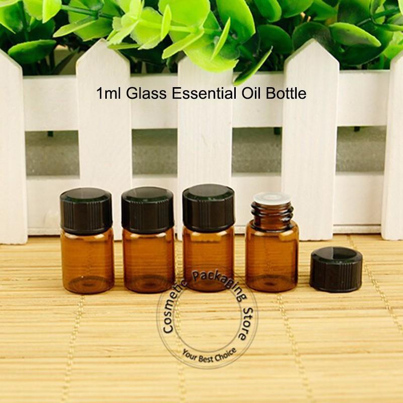 Bottiglia di olio essenziale di vetro 500pcs 1ml con orifizio Ridurre tappo nero 1 / 10OZ Mini vaso di campione ambra piccolo coperchio a vite Vaso riutilizzabile