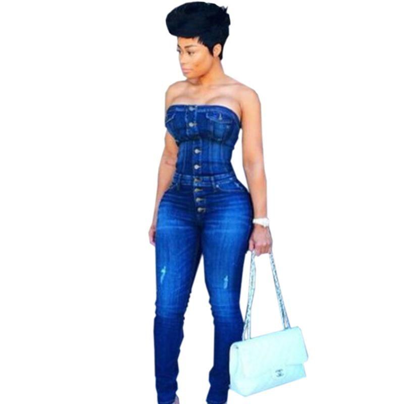 Тощая Женская джинсовая Комбинезон Кнопки высокого качества отверстия без бретелек Catsuit женщина способа Bodycon Sexy Club Partywear