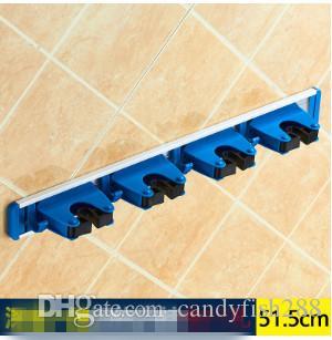 09 Espacio de aluminio soporte de fregona, escoba titular libre de agujero con gancho, soporte de fregona multifuncional, gancho, pendiente de baño