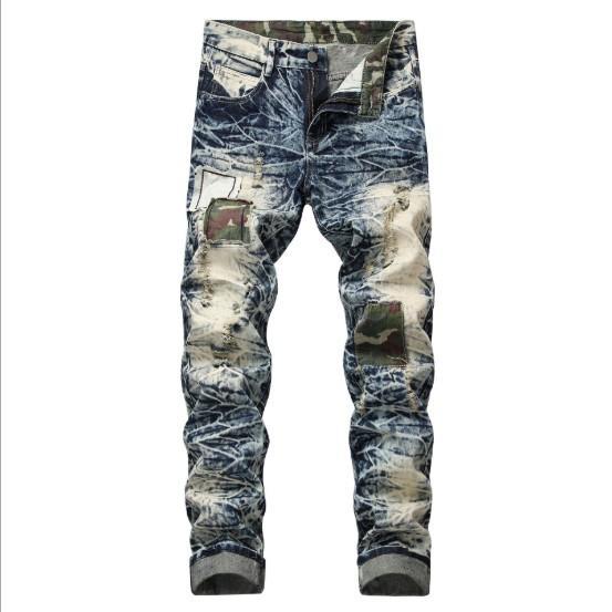 Hommes Jeans Trou Patch Distressed Slim Denim Pantalons Nouveau style européen et américain Hot Vente Taille asiatique