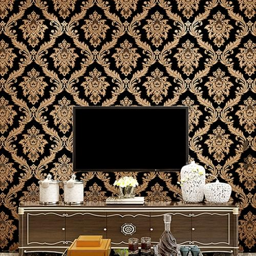 Luxury Damask Vinyl Wallpaper red Black gold PVC Wall Paper Roll Waterproof Wall Cover Living room Bedroom Home Decor