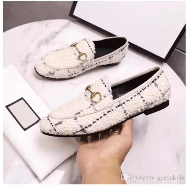 Brand Design Женщины кожи коровы низкий каблук свадебное платье обуви моды тканые металлические пряжки Мокасины вождения Квартиры Повседневный Horsebit Мокасины, 35-40