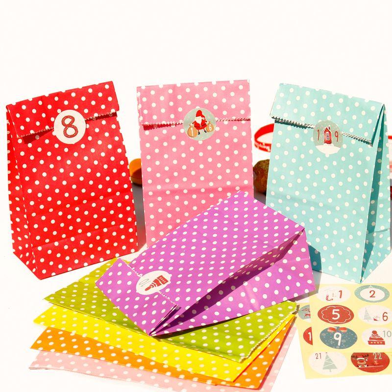 24sets Bunte Punkte Papierumschlag Frohe Weihnachten Party-Einladung Geschenk-Beutel mit Weihnachtsnummer StickersCraft Papierumschlag