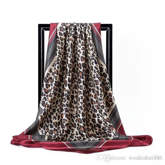 Моделирование шелковый атлас большой квадратный шарф 90 * 90 см мода леопардовый узор дамы шарф высокого класса дизайнерский бренд шарф моделирование