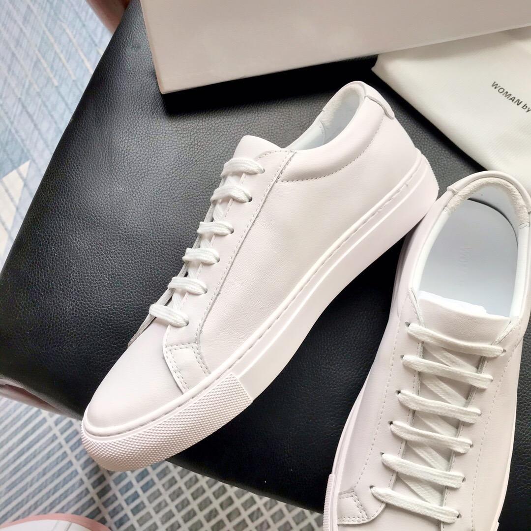 2020 Heißer Verkauf- Von Frauen Weiß Rosa Achilles Low Top-Schuh-Frauen-Turnschuhe echtes Leder-beiläufige Schuh-Ebene Chaussure Femme Homme A2