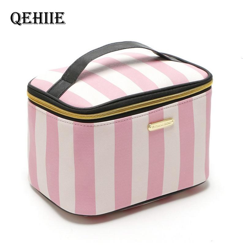Woman Pink Cosmetic Bag And Case Fashion Flower Purse Organizer Toiletry Bags Cute Travel Professional Large Handbag Make Up Box SH190918