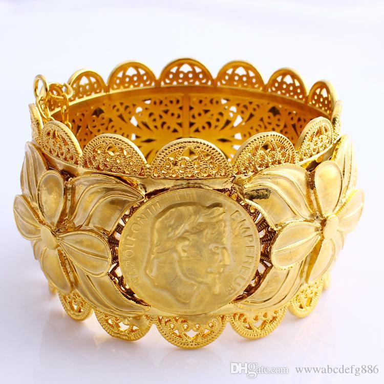 70MM الاثيوبية عملة أزياء كبير على نطاق واسع سوار نحت 22K بات تايلندي الصلبة الذهب والمجوهرات GF دبي النحاس إريتريا سوار اكسسوارات