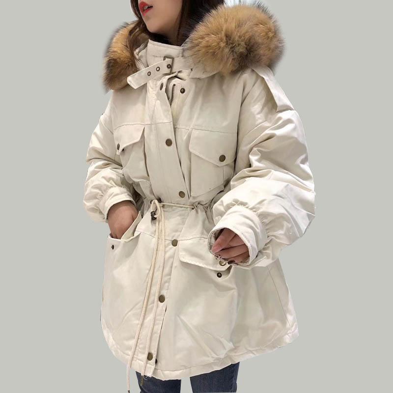 Kış Ceket Kadınlar Kapşonlu 2019 Beyaz Ördek Aşağı Parkas Orta Uzun İnce Coats Büyük Real Rakun Kürk Yaka Sıcak Pembe Dış Giyim T191031