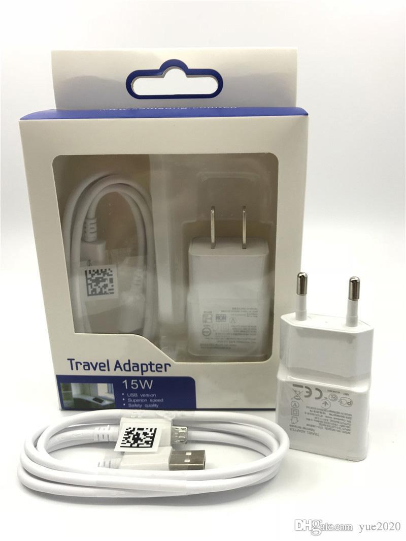 Top qualidade carregador de parede adaptador 5V 2A Início Adaptador de viagem + 1M Micro USB Cabo 2 em 1 carregador Kits para Samsung S8 Nota 8 HTC
