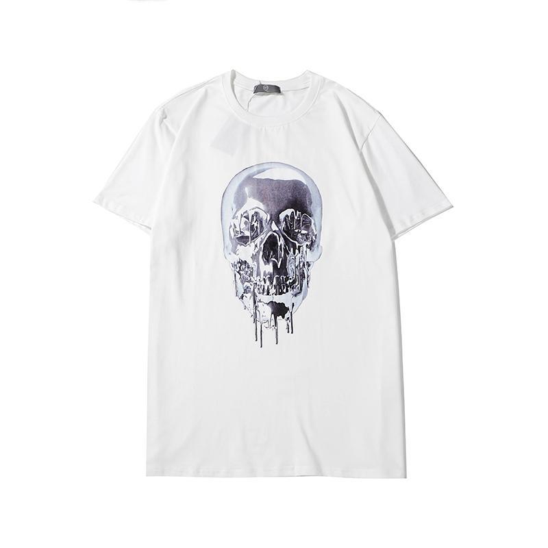 Модные мужские женские футболки летние брендовые рубашки дизайнерские футболки роскошные череп печати джемперы повседневные рубашки для мужчин женщин унисекс 2002032L