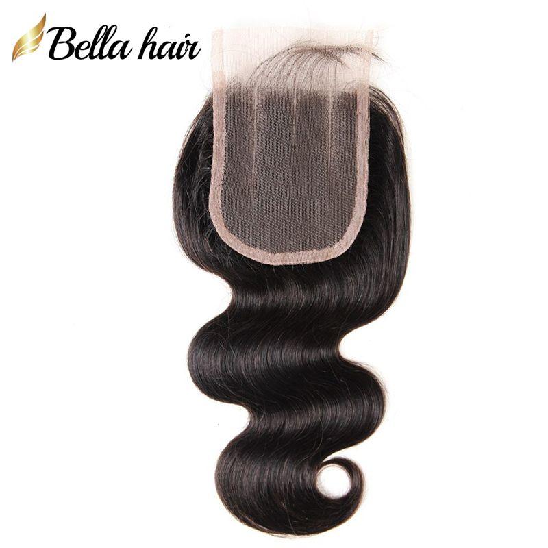 Malaysian 3 Teil Spitze Verschluss Jungfrau Menschliches Haar Stück 4x4 Körperwelle Top Spitze Verschluss mit Babyhaar Natürliche Farbe Bella Haar