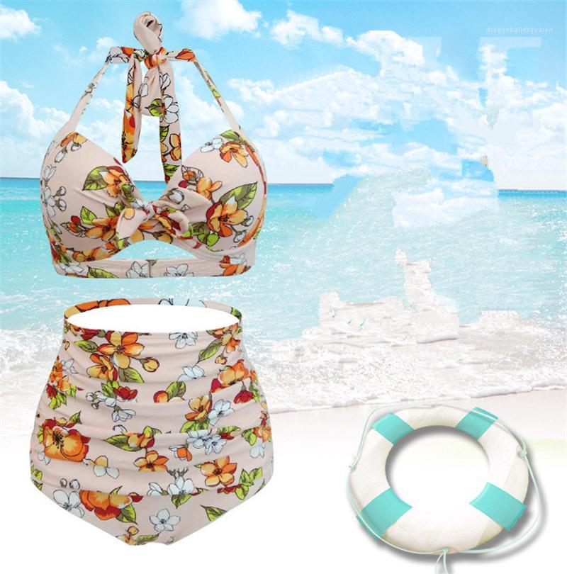 Summer Designer Bikinis Sexy Fashion Backless Bathing Suit Plus Size Female Casual Apparel Floral 2Pcs Women