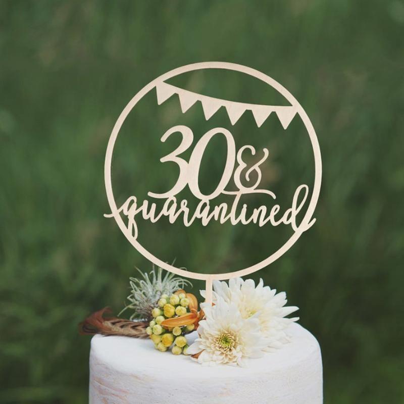 Quarantined aniversário feliz bolo Topper, personalizado Quarantined Birthday Cake Topper, Topper Texto 30o 40th personalizado
