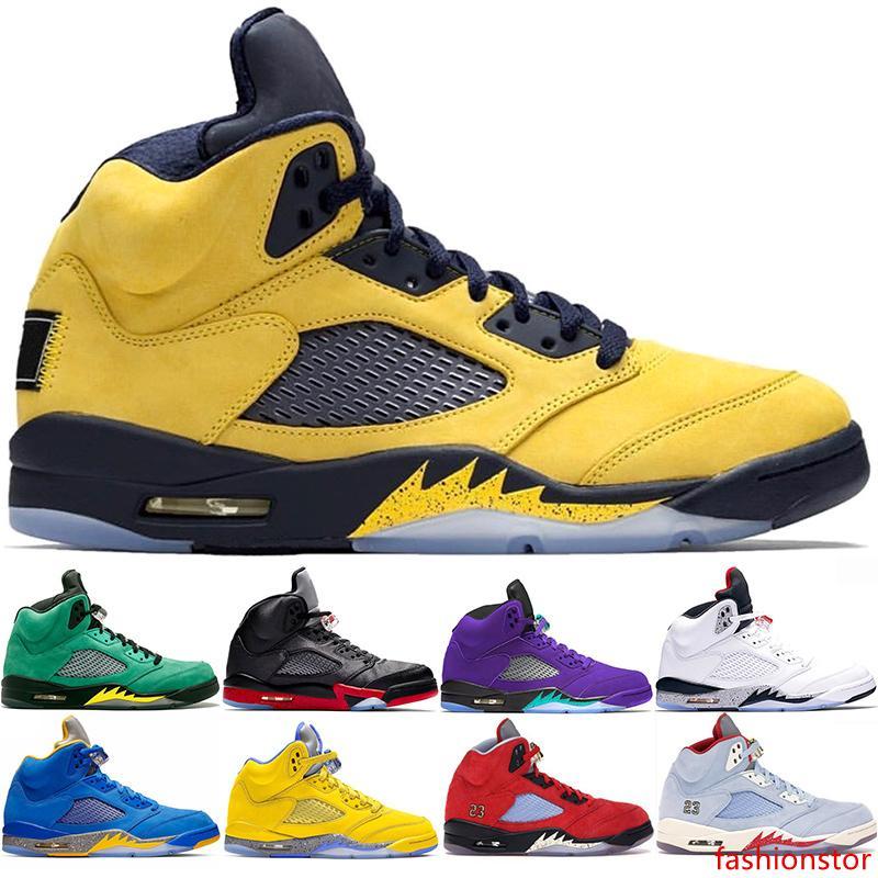 Erkekler Basketbol Ayakkabıları 5 CHAUSSURES 5s Inspire Laney Mavi Beyaz Sarı Ateş Kırmızı Metalik Siyah Erkek Eğitmenler Spor Sneaker Boyut 40-47