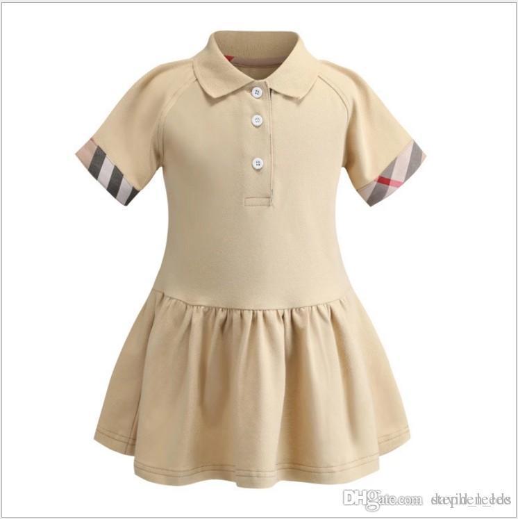 2019 جديد الصيف الفتيات بولو قميص قصير الأكمام اللباس لطيف فتاة الأميرة فساتين الاطفال القطن اللباس 90-130 سنتيمتر