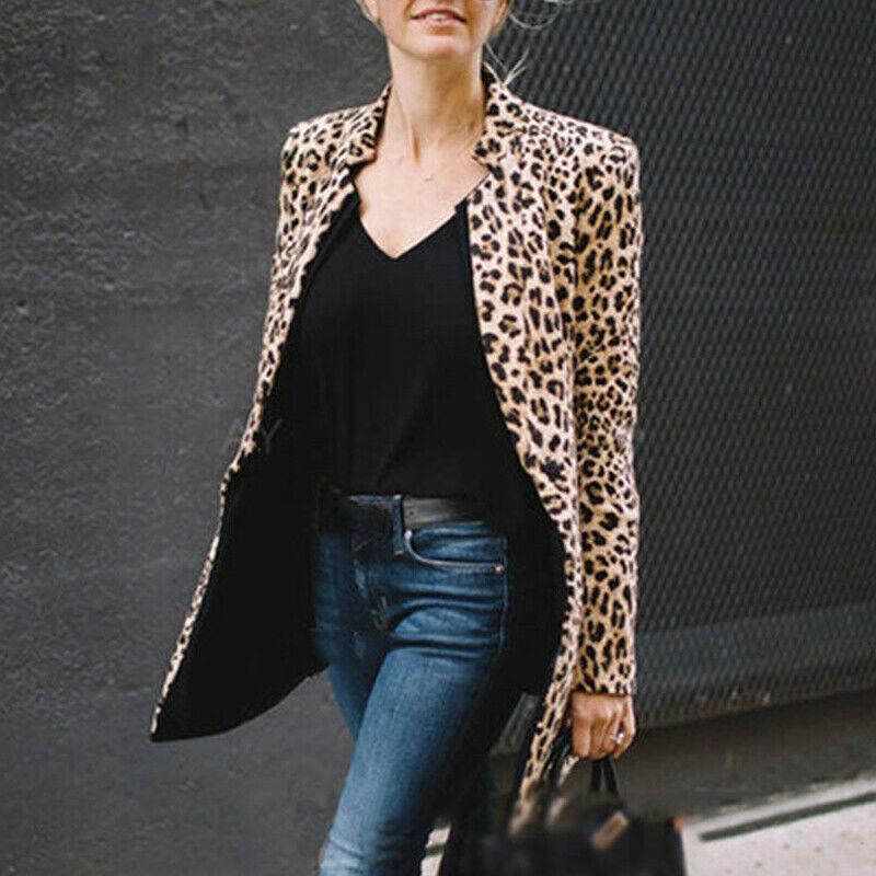 New Winter Coat Women Ladies Leopard Printed Coats Casual Autumn Spring Long Sleeve Suit Slim Top Jacket Outwear Formal Jacket T190919