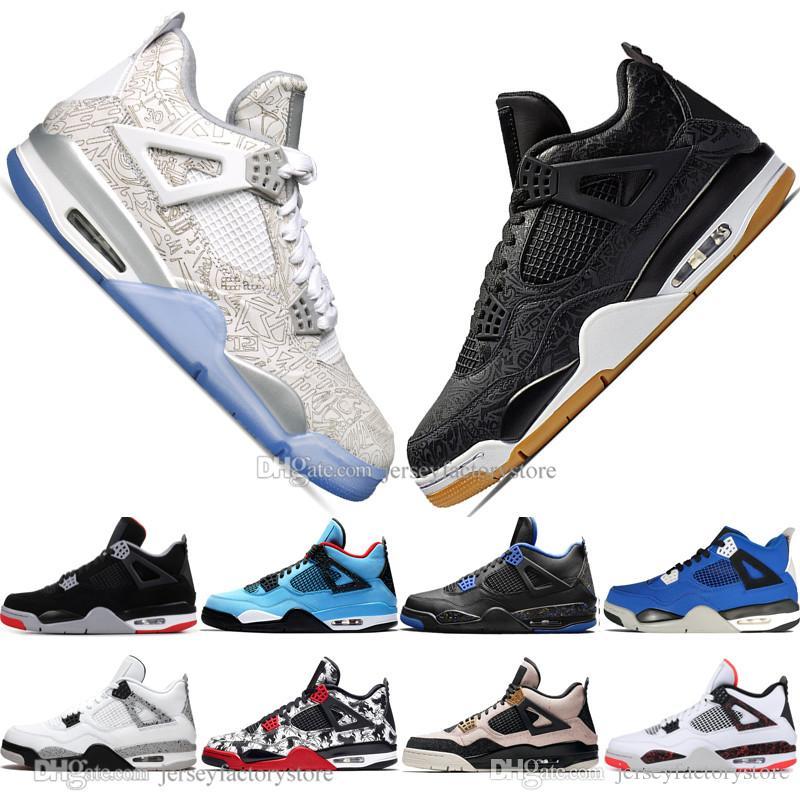 En gros les plus récents Bred 4 4s ce que les femmes Laser Cactus Jack Ailes Hommes Chaussures de basket-Denim bleu pâle Cédrat hommes de sport Chaussures de sport de 5,5 à 13