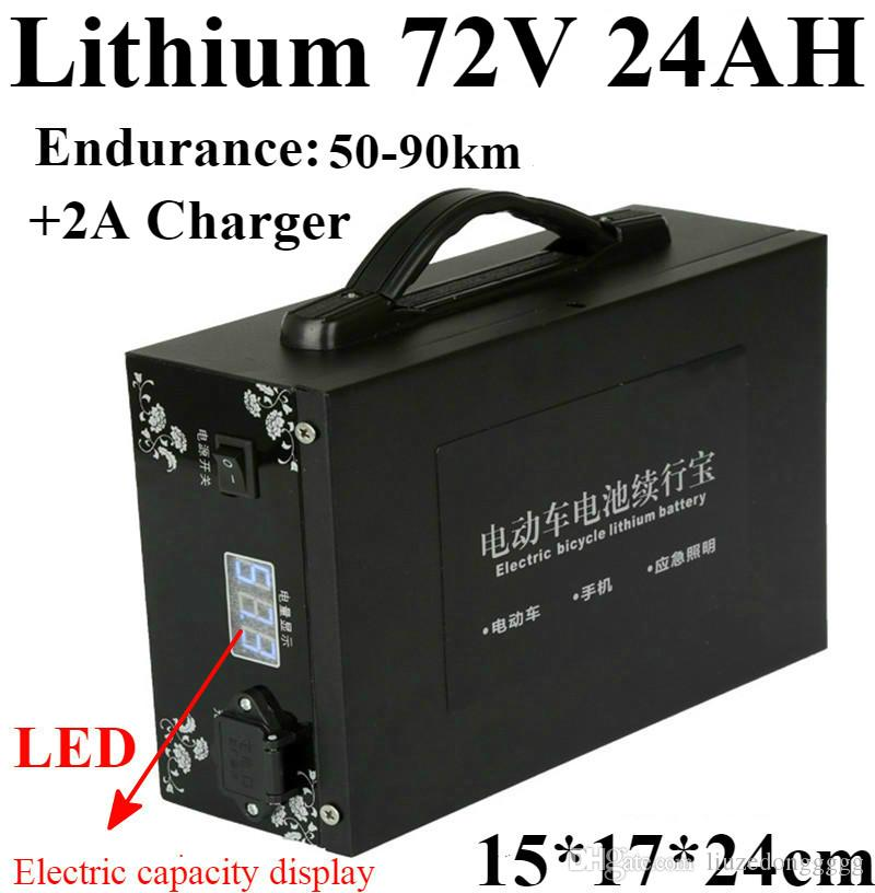 Wartungsfreie Batterie Lithium 72v 24AH + LED Anzeige der Batteriekapazität 72V 24AH Lithium-Polymer für 3600W 72V Elektromotor EV