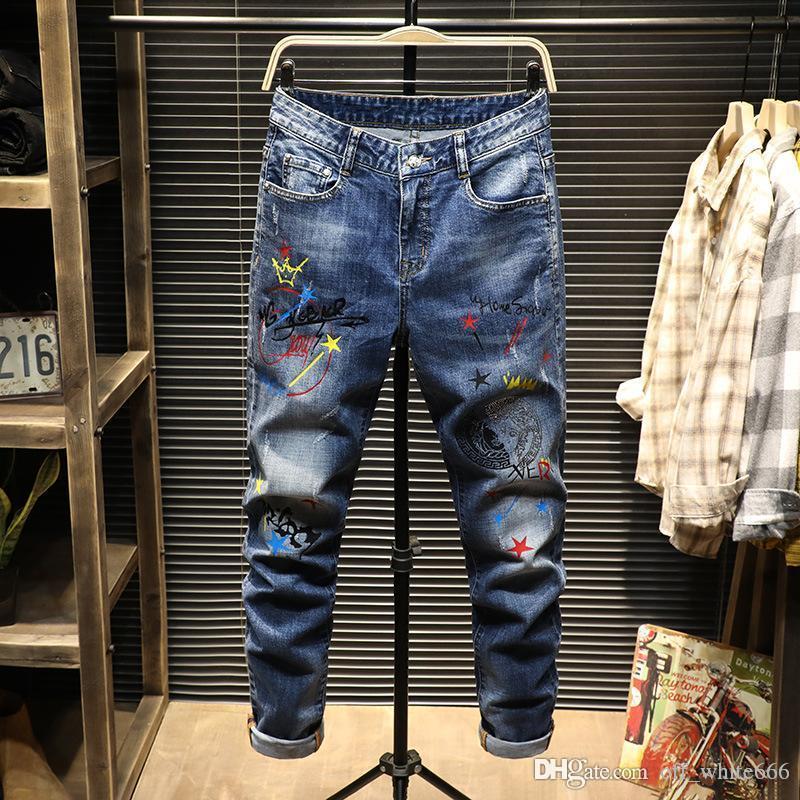 jeans hommes de luxe jeans impression couleur d'encre personnalité de style américain lettres stretch concepteur modèle pantalon slim pieds