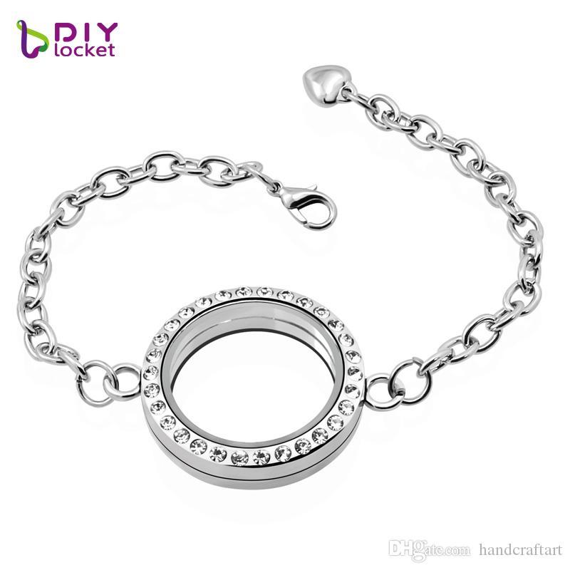 30mm silver runda magnetglas flytande locket armband grossist mode armband bangles lslb02