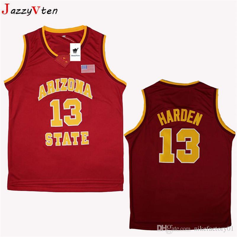 자수 애리조나 주립 제임스하든 농구 저지 스티치 화이트 레드 옐로우 # 13 James Harden ASU Sun 대학 유니폼 무료 배송