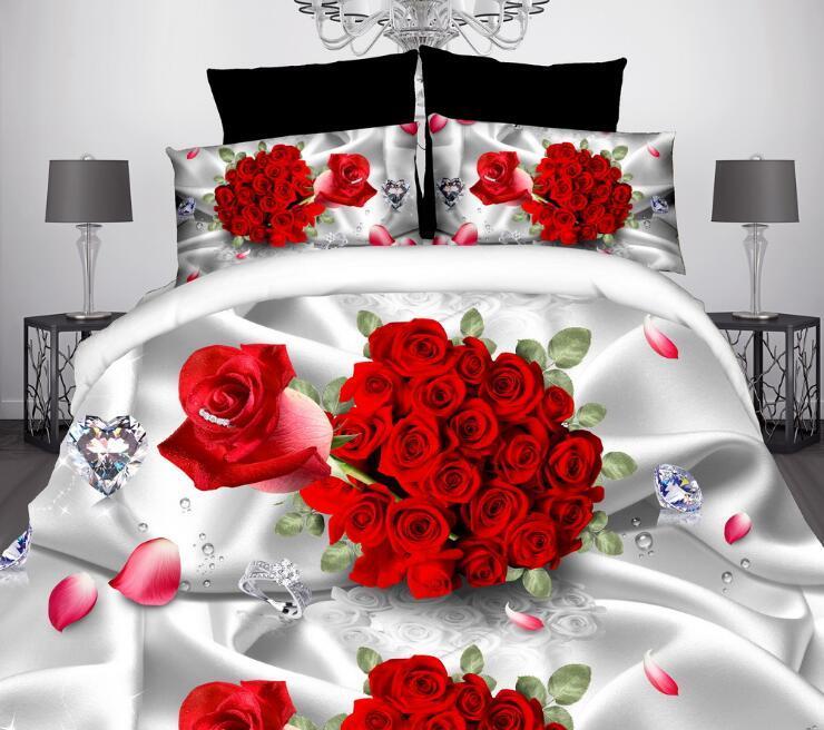 المنسوجات المنزلية 3D لطيفة الطباعة التفاعلية القطن 4 قطع الفراش مجموعة حاف لحاف الغلاف / السرير ورقة سادة أغطية السرير
