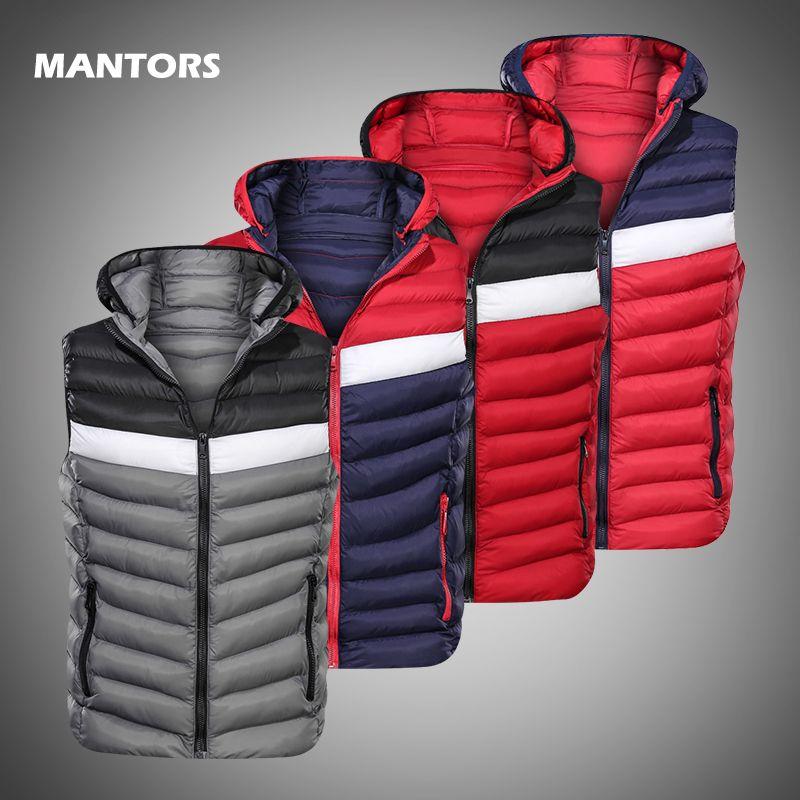 남성 후드 조끼 다운 재킷 2019 가을 겨울의 따뜻한 양복 조끼 브랜드 남성 코트 패치 워크 민소매 조끼 슬림 자켓 탑