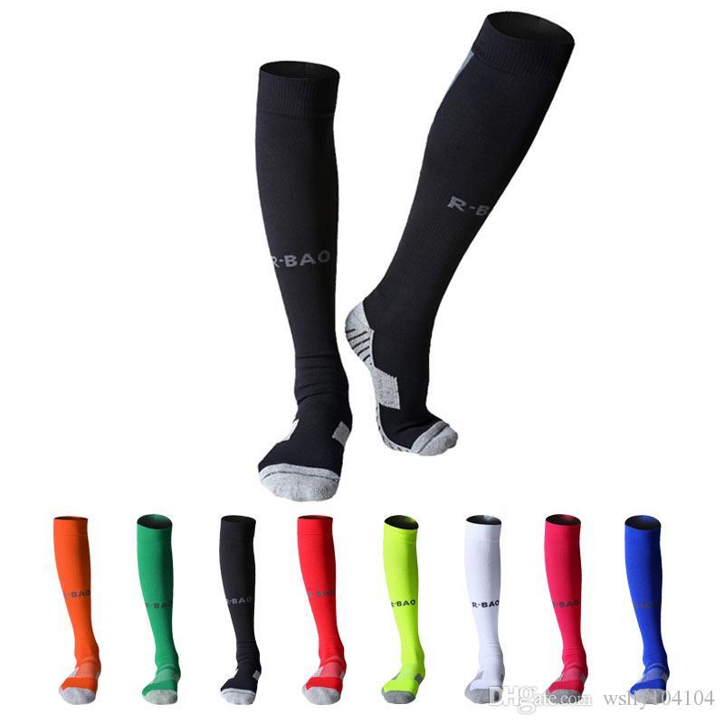 القطن طويل لكرة القدم الجوارب رياضة جماعية ضغط الجوارب الركبة السامي لكرة القدم الجوارب منشفة القاع للجنسين الشباب الكبار