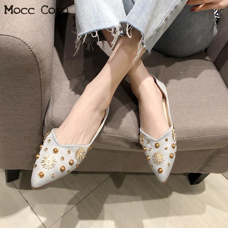 Zapatos de las mujeres resbalón ocasional en holgazanes Barco Pisos Moda punta estrecha zapatos mocasines señoras de la oficina de cristal Guisantes Pisos Zapatos de mujer