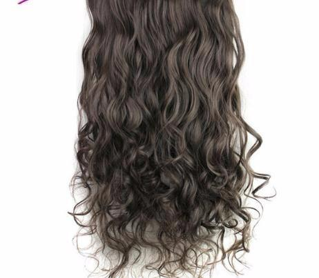5 Clips In Hair Extensions One Piece Long Wavy Synthetic Wig High Temperature False Hairpieces For Women 24inch