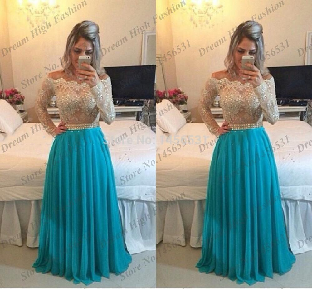 2020 Gorgeous Evening Dresses Off The Shoulder Lace Beaded A Line Party Dress Floor Length With Long Sleeve Prom Dresses Um5922