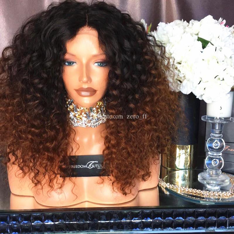 150% Densité Kinky Bouclés Dentelle Perruques De Cheveux Humains Ombre # 1B # 30 Sans Colle Full Lace Wigs Deux Tone Human Lace Front Perruques
