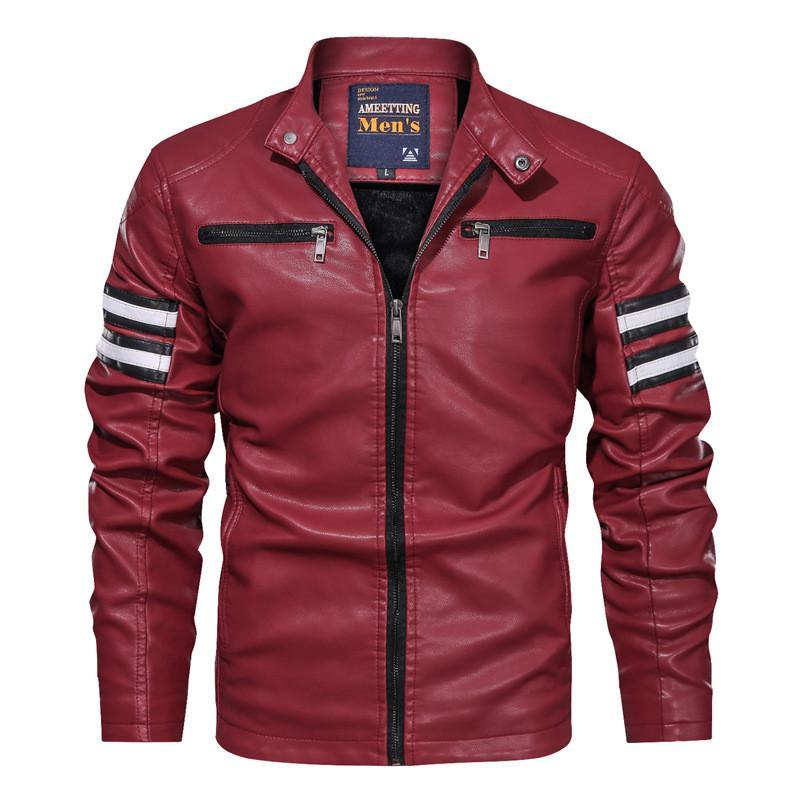 De lujo para hombre de la PU de la chaqueta delgado de la manera de la cremallera Escudo Mens del diseñador del tamaño extra grande de abrigo
