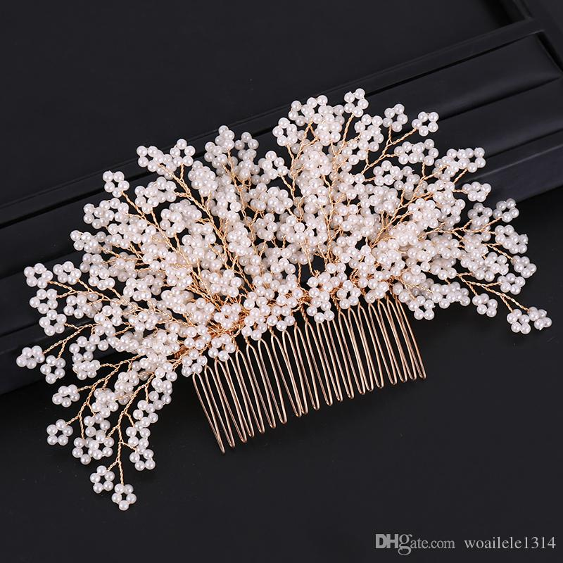 17*10cm 1 Pcs Wedding Prom Bridal Bride Pearl Gold Comb Hair Accessories Party Prom Tiaras Headpiece Hair Clip Pins Jewelrys