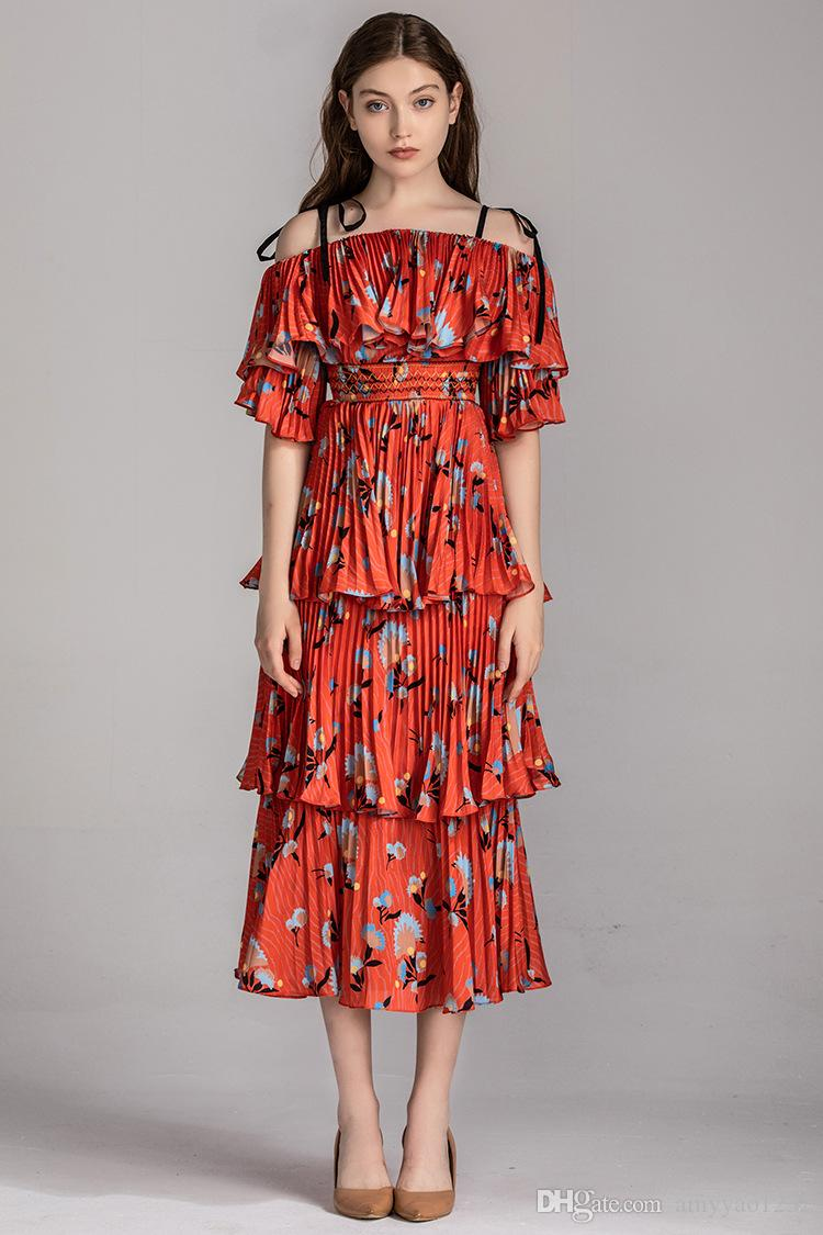 82 XL 2019 Free Shipping Summer Wedding dress Brand Same Style Dress Long Sleeve Spaghetti Strap Mid Calf Womens Clothes YY