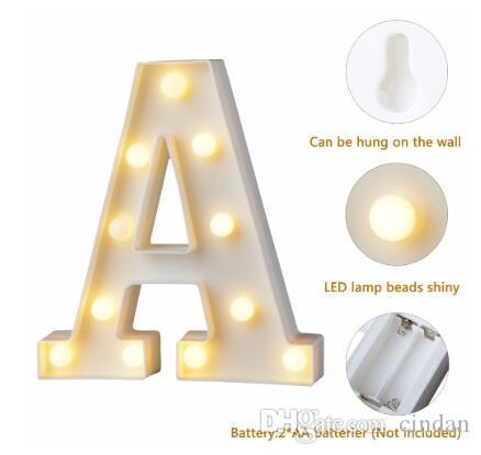 흰색 플라스틱 편지 LED 야간 조명 마키 기호 알파벳 조명 램프 홈 클럽 야외 실내 파티 웨딩 홈 장식