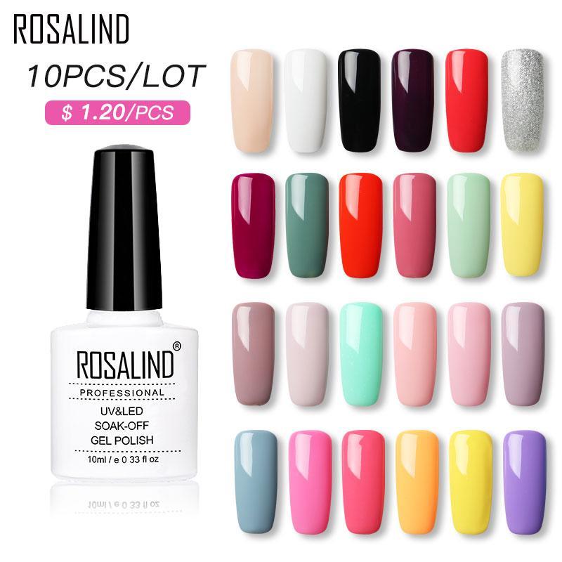 (Wählen Sie bitte 10) ROSALIND 10ml Gel-Nagellack-Set klassische Farben tränken weg vom UV-Nagel-Kunst-Maniküre-Primer Nails Gel-Polnisch-Lack-Kit