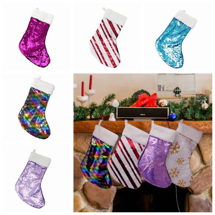 Decoración navideña Reversible Lentejuela Media Colgante Accesorios para colgar Bolsa de dulces Regalos Bolsa Suministros para fiestas 5 colores ZZA1143