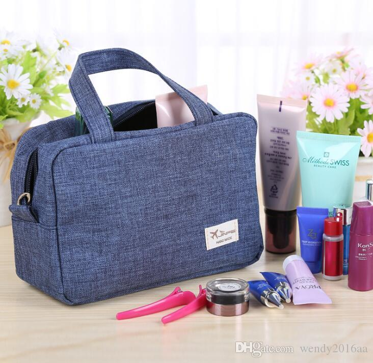 20pcs Toiletry Kits Women Abrasive cloth Double Layer Large Capacity Cosmetic Bag with Handble 5Colors Sport Storage Bag Outdoor
