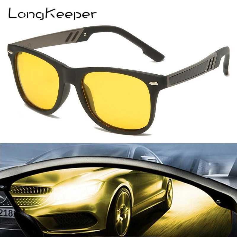 LongKeeper Classic Night Vision Polarized Sunglasses Men Yellow Lens Anti-glare Driving Sun Glass Safety Driving Okulary Gafas