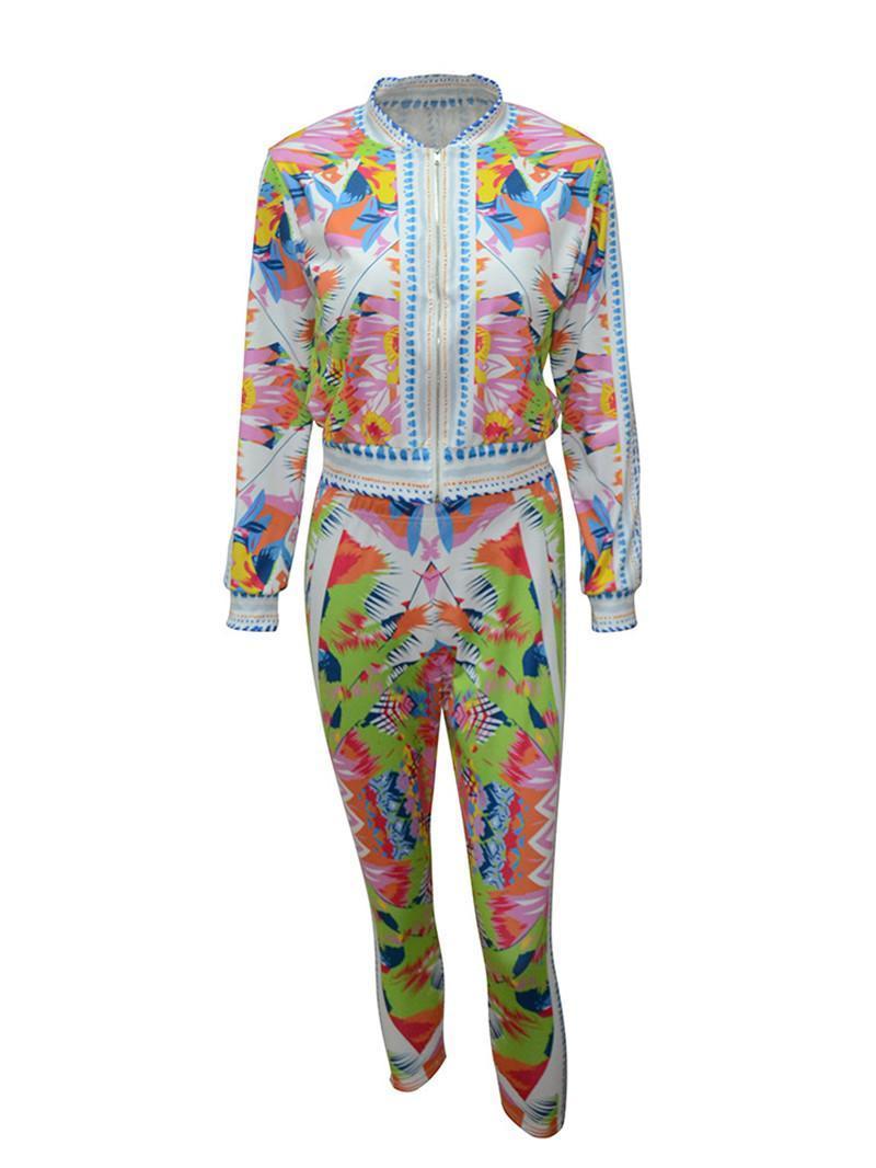 Las mujeres 'S chándal de dos piezas floral de la moda de impresión tapa de la chaqueta y recortada del juego de pantalones de deporte de las mujeres del otoño sudaderas famosos