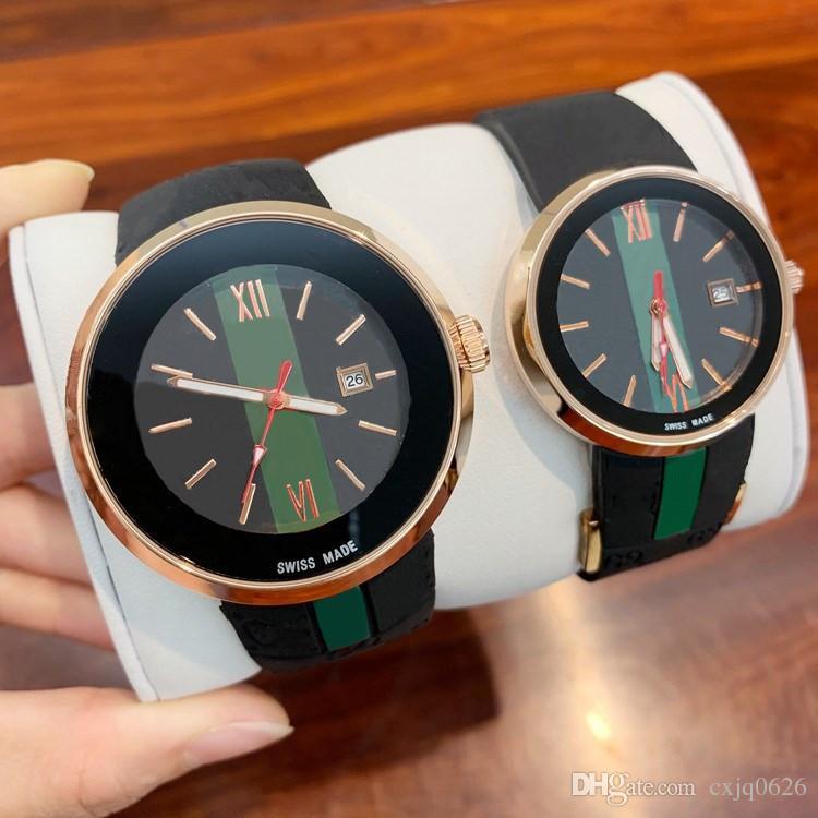 2019 뜨거운 판매 유명한 남자 / 여자 WristWatch 패션 드레스 시계 브랜드 새로운 고무 럭셔리 고품질 블랙 색상 인기있는 연인의 손목 시계